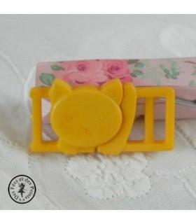 Boucle à clips - Chat jaune - 10 mm