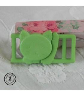 Boucle à clips - Chat Vert printemps - 10 mm