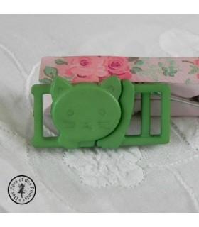 Boucle à clips - Chat Vert  - 10 mm
