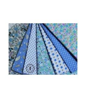 "Coupons ""Jardin bleu"" - Coton - 45 x 50 cm - 7 pièces"