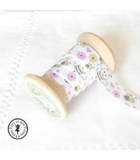 Elastique ruban - Abeilles- blanc - 15 mm