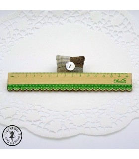 Règle en bois dentelle - Naturel - Décor Vert