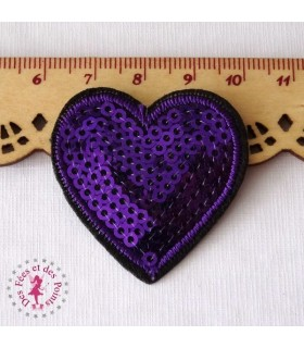 Coeur mini - Sequins violets