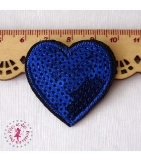 Coeur mini - Sequins bleus