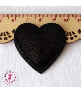 Coeur mini - Sequins noirs