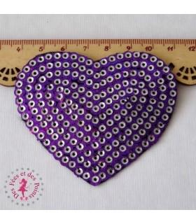 Coeur - Sequins Violet/Argent