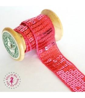 Ruban Sequins - Rose barbie - 23 mm