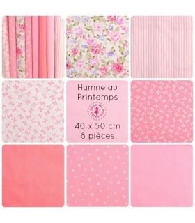 """Coupons """"Hymne au Printemps"""" - Coton - 40 x 50 cm - 8 pièces"""