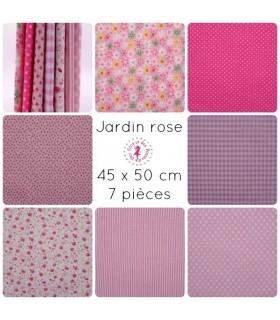 """Coupons """"Jardin rose"""" - Coton - 45 x 50 cm - 7 pièces"""